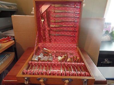 Siam Thailand Brass & Teak Wood Flatware Set-26 Piece M #1877