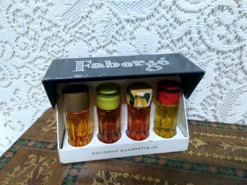 Vintage Faberge Cologne Perfum Quartette Set Tigress Woodhue Flambeau Aphrodisia