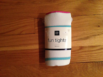 BABY GAP WHITE  PINK AND TURQUOISE SPRING STRIPE TIGHTS $10.50 XXSMALL BNWT - Pink And White Striped Tights