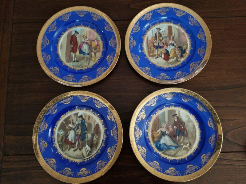 JWK - Josef Wiesau Kuba, Set of 4 Cabinet Plates - Cries of London. Beehive JKW