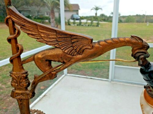 ORNATE ANTIQUE VICTORIAN DRAGON OR WINGED GRIFFIN BRIDGE FLOOR LAMP