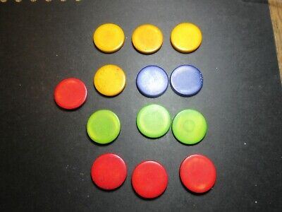 13 x THICK ANTIQUE STAINED COLOURED  BONE GAMING COUNTERS