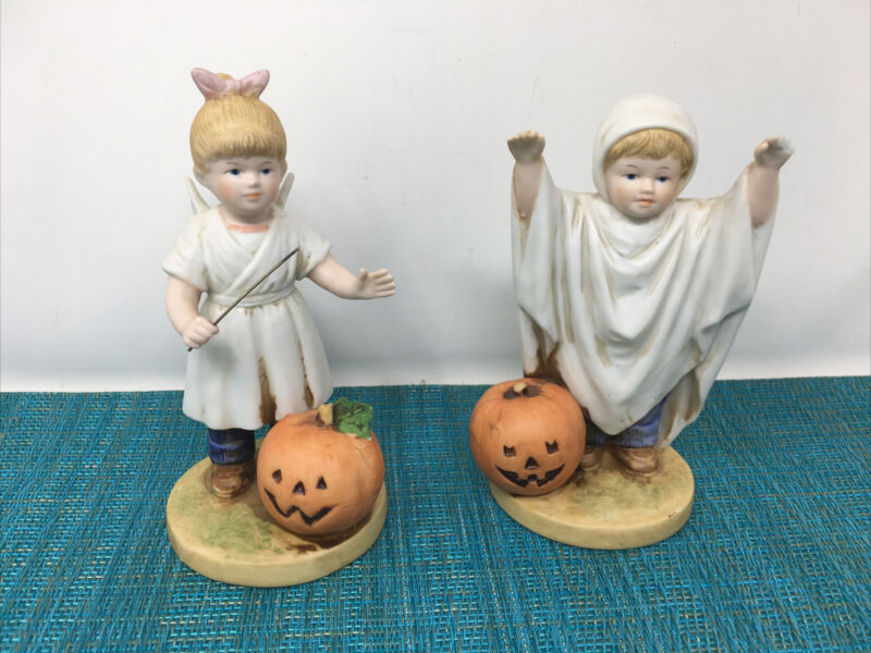 Vintage HOME INTERIORS HOMCO Denim Days Figurines  Halloween Fun 1985  5.5""