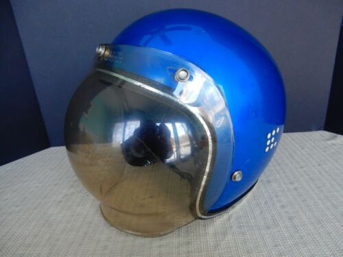 Cool vintage 70s Motorcycle helmet electric blue w/ gray tinted bubble shield