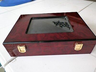 HIGH GLOSS WOOD TREASURE BOX W PICTURE WINDOW -