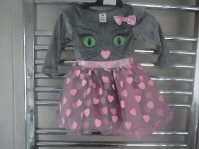 Baby Girls Halloween pink grey Dress Up/Party CAT face + bow age 3-6 months -NEW - Baby Cat Face Halloween