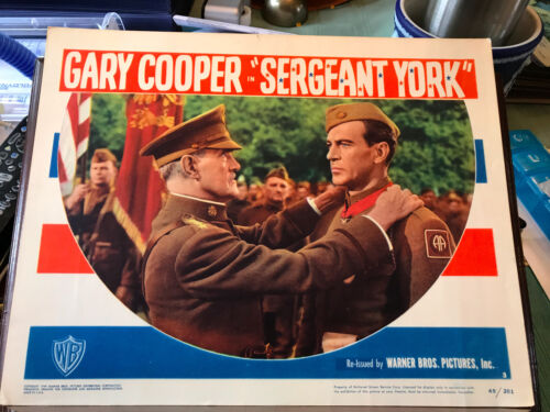 Sergeant York 1949RR Warner Brothers lobby card Gary Cooper