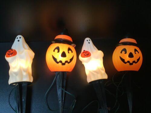 Vintage 1995 Empire Blow Mold Outdoor Halloween String Lights Ghost Pumpkin