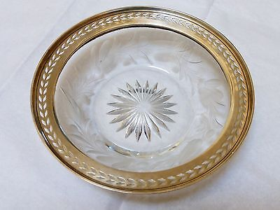 Vintage Sterling Silver Cut Crystal Glass Bowl Plate