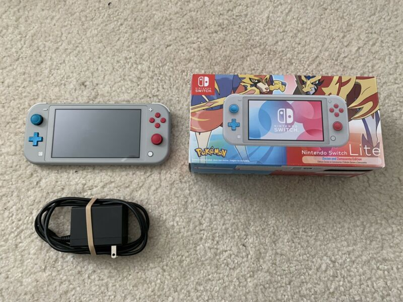 Nintendo Switch Lite Pokemon Zacian Zamazenta Limited Edition Console W/ Charger