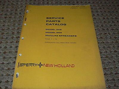 New Holland 346 365 Manure Spreader Dealers Parts Book