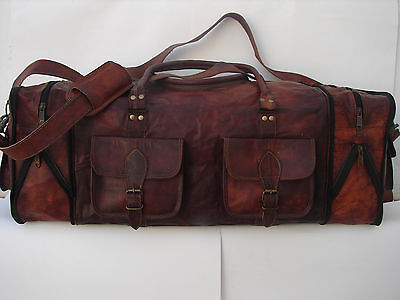 "30""Men's Genuine Leather luggage gym weekend overnight duffle large vintage bag"
