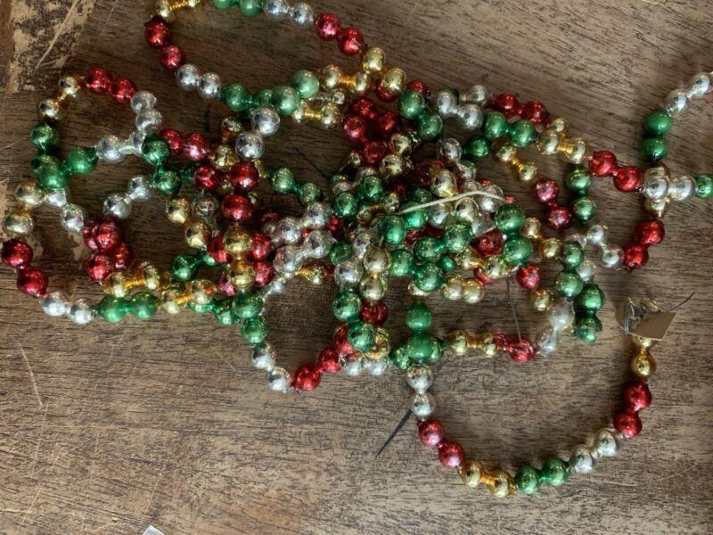 """Vintage Christmas Glass Multi color Bead Garland 96"""" #6B"""
