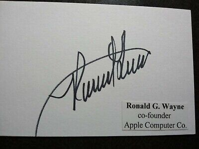 RONALD WAYNE Hand Signed Autograph 3X5 INDEX CARD -  CO FOUNDER APPLE COMPUTER