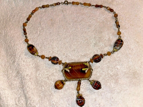 ANTIQUE BROWN BANDED AGATE GLASS BEAD NECKLACE SIGNED CZECH PENDANT ART NOUVEAU