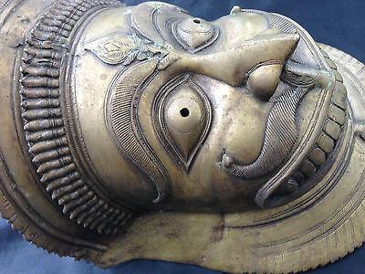Huge Antique Bronze Asian Tibetan Thai Demon Bhutan Mask Tribal MetalTribe Deity