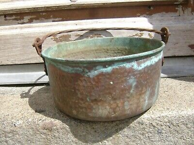 Large old vintage French copper cauldron/hanging pot/planter/jardiniere