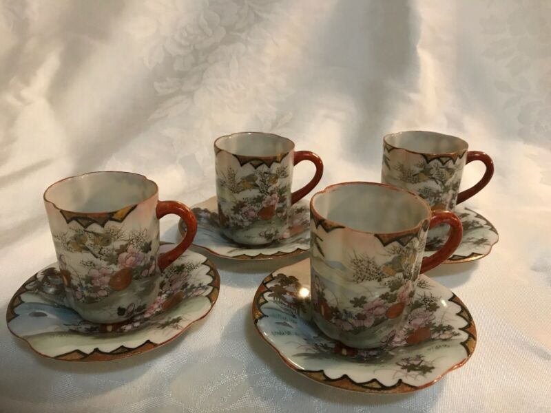 Kutani Japanese Antique Demitasse Cups & Saucers Set Of 4