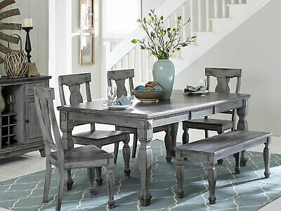 NEW Cottage Gray Finish Dining Room 6pcs Rectangular Table Bench Chairs Set