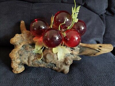 Vtg Mid Century Large 11X5X6 Ruby Red Lucite Grape cluster Driftwood Art Deco !!