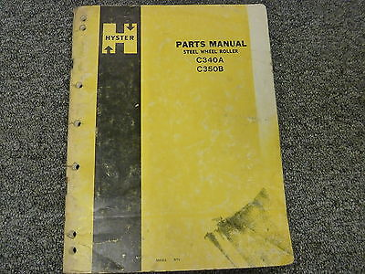 Hyster C340a C350b Tandem Smooth Drum Roller Compactor Parts Catalog Manual Book