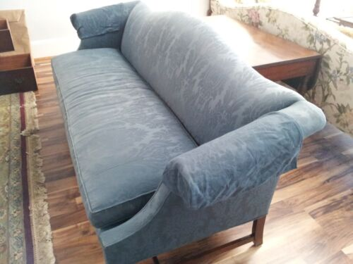 Beautiful Blue Damask Hickory Chair Camelback Sofa, with 6 Back Pillows