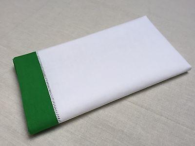 18 Inch White Green Border Christmas Hemstitch Linen Cloth Napkin Set of 4 18 Inch Napkin