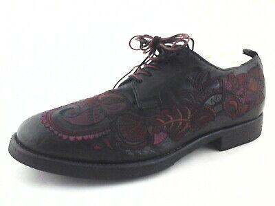 SARTORI GOLD Oxfords Black w Wine Embroidered Floral Womens US 7.5 EU 37.5 $390