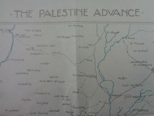 "WW1 (1918) British INTELLIGENCE MAP - ""THE PALESTINE ADVANCE"" (Field Printed)"