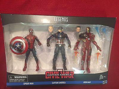 In STOCK Marvel Legends Civil War Iron Man + Captain America + Spiderman 3 Pack