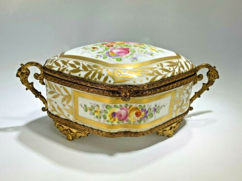 Antique French Armand Hand Painted and Bronze Gilt Jewelry Casket/Box