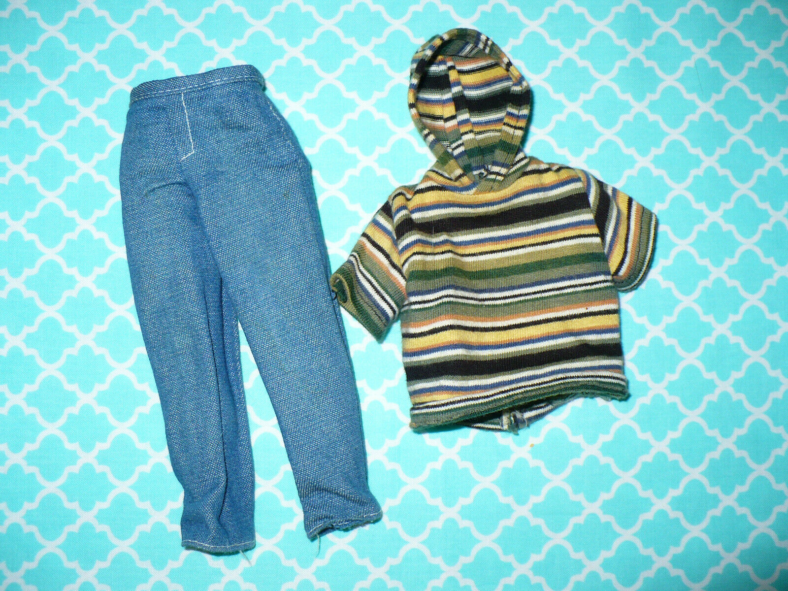 Mattel Barbie KEN DOLL 1990 s CLOTHING LOT 2 Pc SHIRT Hoodie JEANS PANTS  - $15.99