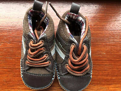 New Josmo Baby Boy Brown Orange Size 1 Shoes Trainers Laceups Designer