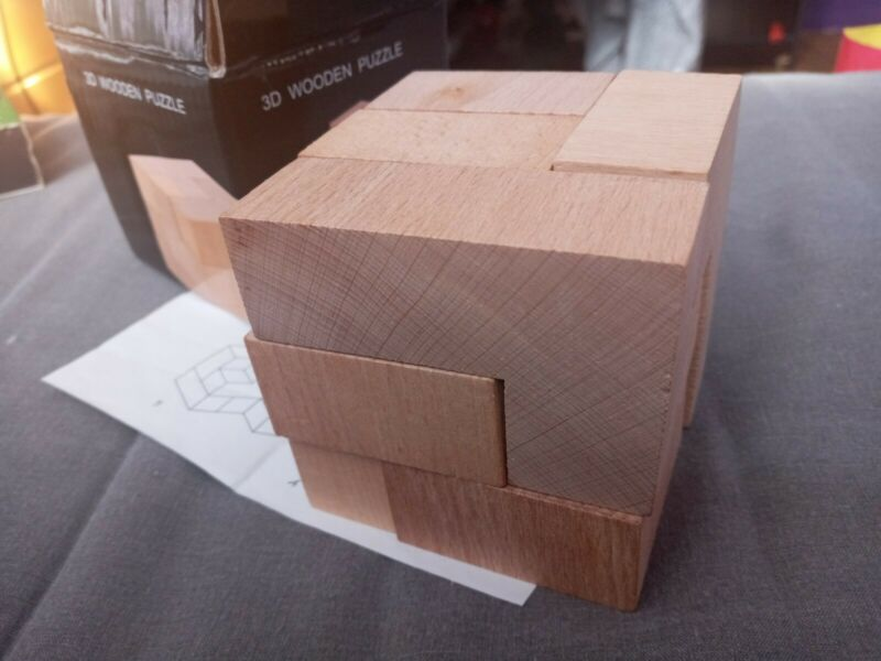 3D Wooden Puzzle Cube. Solution included