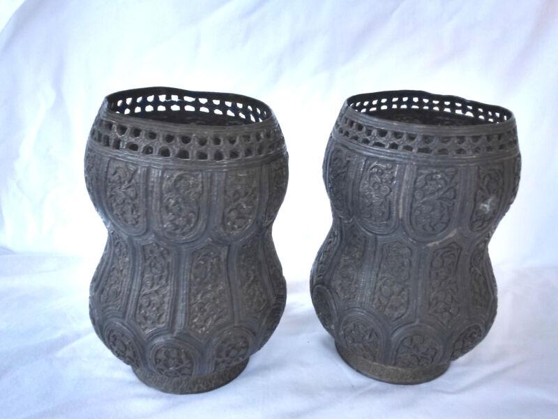 Pr.  18th/19th Century Persian Islamic Embossed Bronze Metal Vases/Urns