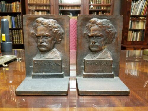 Mark Twain Book Ends Bronze MFG Co. 1924