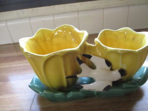 Vintage McCoy Pottery Double Tulip Planter With Swallow
