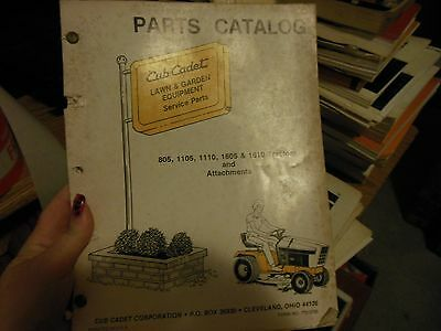 CUB CADET 805 1105 1110 1605 1610 TRACTORS ATTACHMENTS 772-3700 PARTS CATALOG