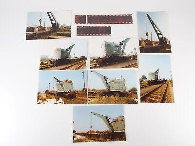 """8 Fotos 10x15 mit Negativen - Kranwagen Hafenbahn Magdeburg 1992 """"Xbf26"""