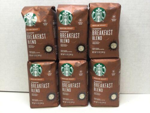 Starbucks Breakfast Blend Whole Bean Coffee, Medium Roast, CASE OF 6, APR/2021