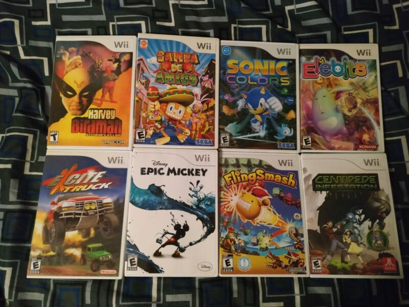 Lot of 8 Nintendo Wii Games Sonic Excite Truck Elebits Centipede Epic Mickey