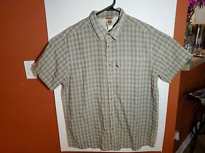 The North Face Short Sleeve Button Modal Polyester Plaid Shirt Men's XXL 2XL