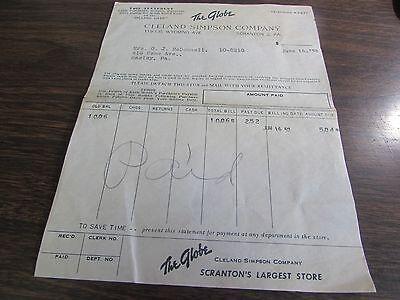 THE GLOBE - CLELAND SIMPSON CO  - SCRANTON PA BILLHEAD 1952