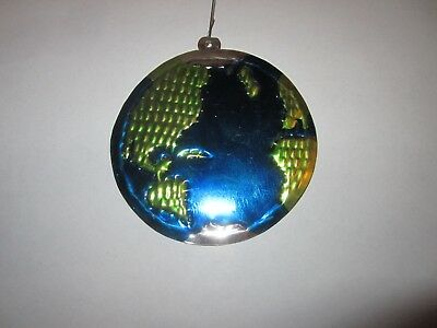 Holiday Christmas Tree Ornament Blue Green Round Flat Metal Earth Globe World Earth Christmas Tree Ornament