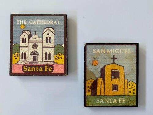 Set of 2 Santa Fe New Mexico Fridge Magnets, Cathedral & San Miguel Chapel