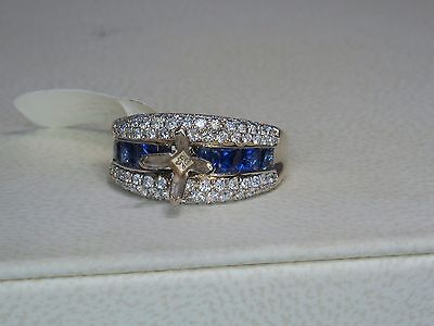 14K WHITE GOLD 1.25 CTW SAPPHIRE & DIAMOND DIAMOND ENGAGEMENT SEMI MOUNT RING