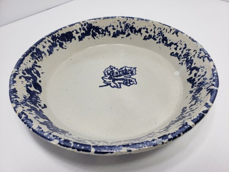 "VINTAGE WESTERN STONEWARE 9.5"" BLUE/GREY COLOR -  OVEN PROOF PIE DISH MONMOUTH"