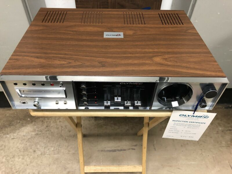NEW OLYMPIC RTC-920 AM/FM/MPX 8 TRACK PLAY AND RECORD SYS. Made in JAPAN. 50098