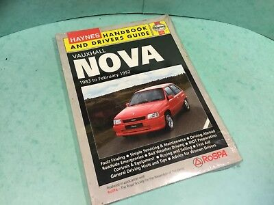 Car handbook Haynes +drivers guide Vauxhall nova 1983 to February 1992 Classic