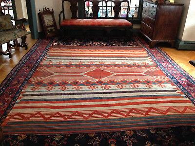 Large Vintage Navajo Weaving Blanket Tightly Woven & Unusual,  9ft 3in x 7ft